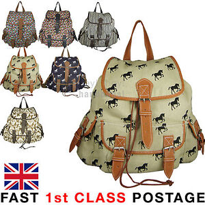 Canvas Backpack Ladies Bag Rucksack Medium / Large Travel Gym School College New