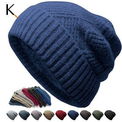 Unisex Fleece Knit Winter Ski Baggy Slouchy Cuff Beanie Cap Solid Hat Skull  Fleece Cuff Cap