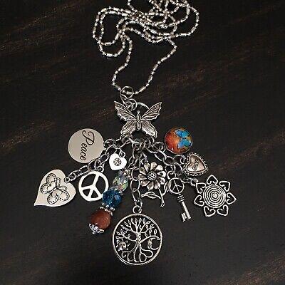 Boho Hippie Gypsy Peace Love Tree Flower Butterfly Heart Charm Necklace Jewelry Peace Heart Necklace