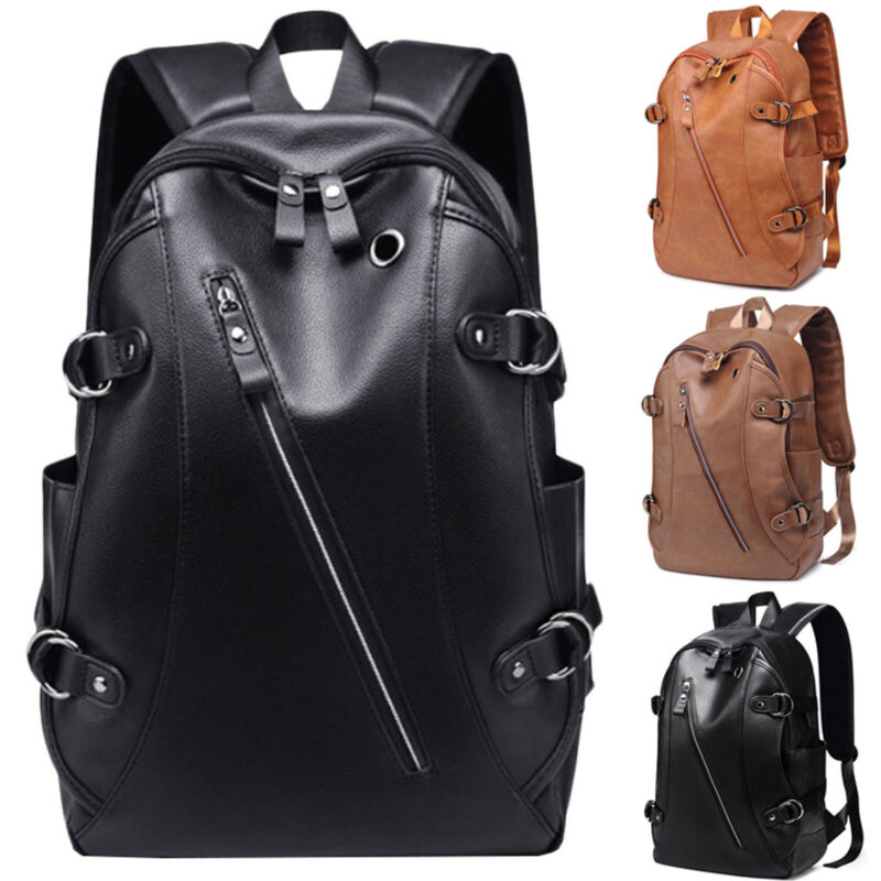 Men Vintage Backpack School Bag Travel Satchel PU Leather Bo