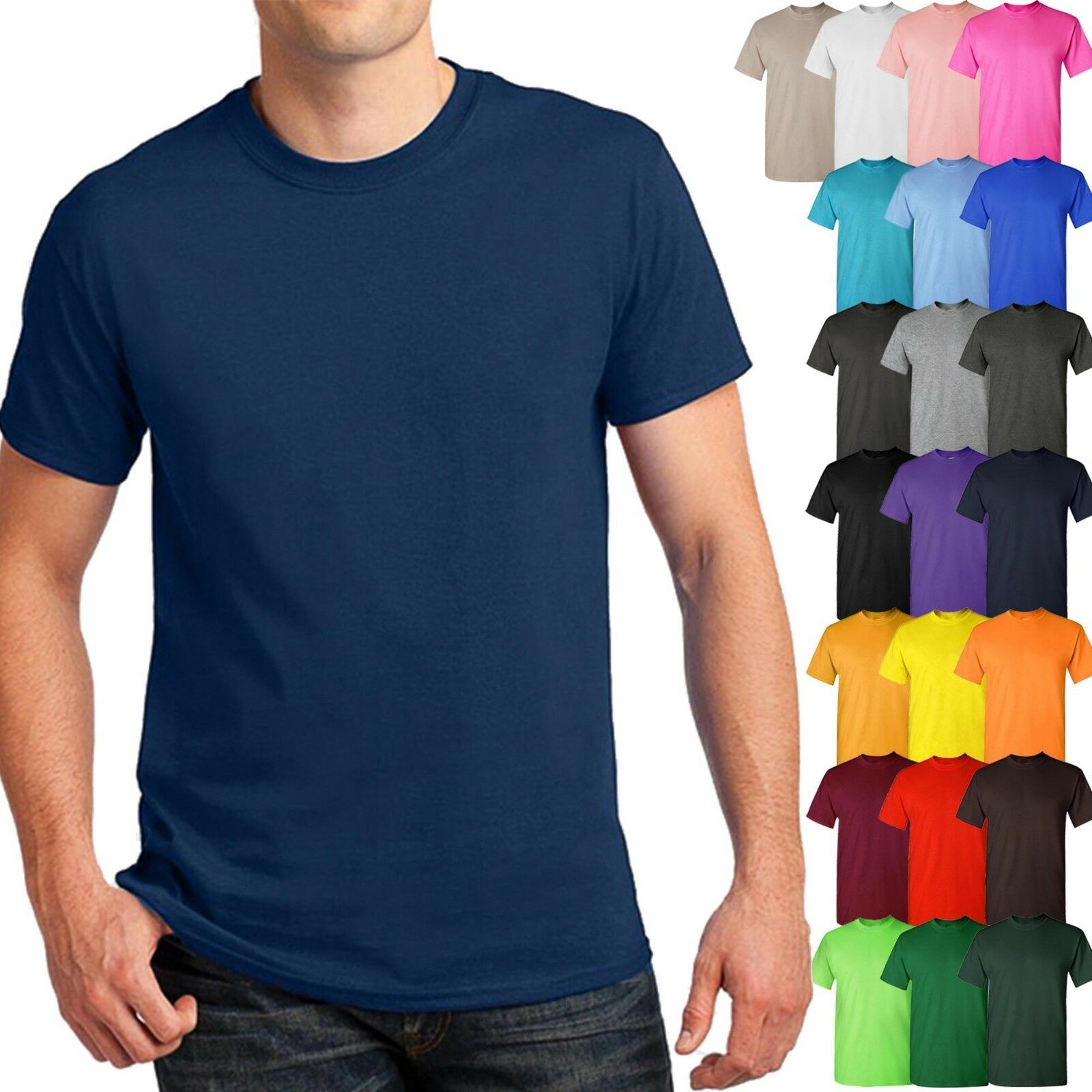 Mens Basic T Shirts Solid CREW NECK Soft Cotton Tee Plain Ca
