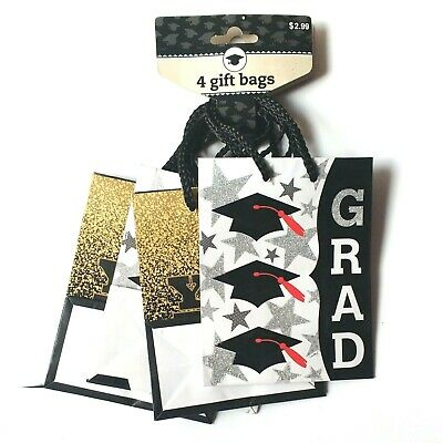 Graduation Gift Bags (Live Laugh Celebrate Graduation Gift Bags - 4 Pack Small 4.5