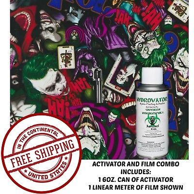 HYDROGRAPHIC FILM WATER TRANSFER HYDRO DIP 6OZ ACTIVATOR WITH JOKER COLOR KIT