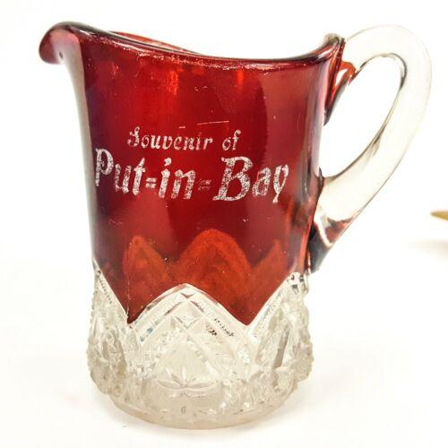 "Antique Red Flash Fair Glass Mini Pitcher 4"" Creamer Souvenir Put In Bay"