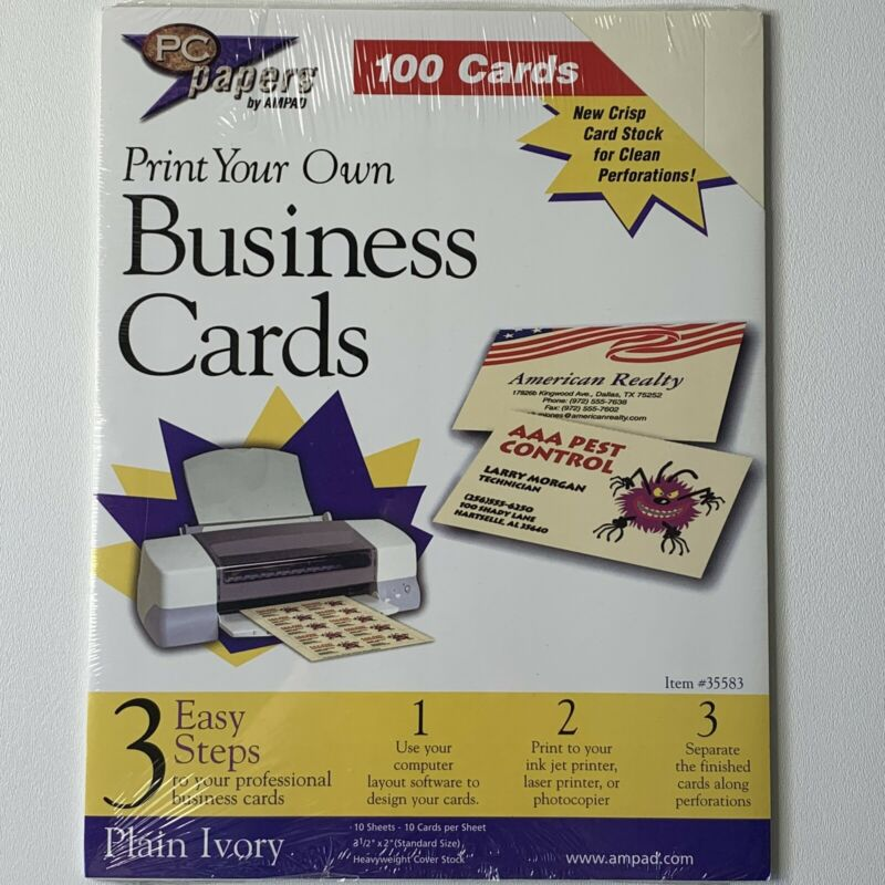 "PC papers By Ampad Print Your Own Business Cards Plain Ivory 3 1/2"" x 2"" 100 ct"