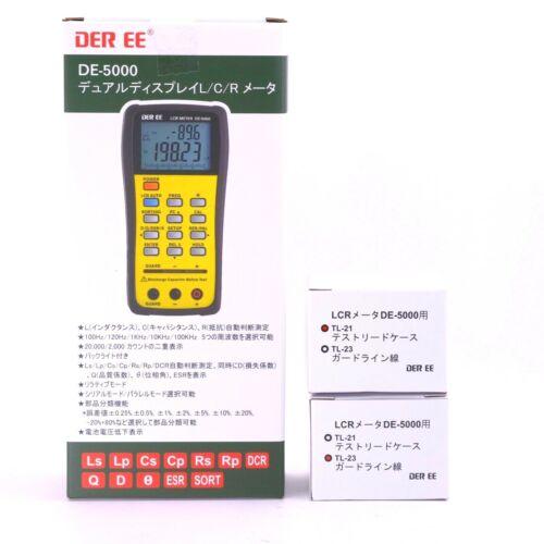 DER EE DE-5000 Handheld LCR Meter with Accessories TL-21/ TL-23 New Boxed