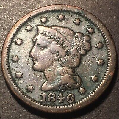 1846 Braided Hair 1c N-8 Variety Large Cent Obsolete Collectible Type Coin