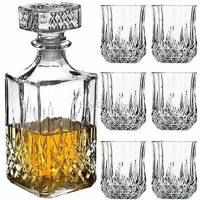6 x 200ML GLASS WHISKEY WINE TUMBLERS & SQUARE GLASS DECANTER BOTTLE BOXED SET