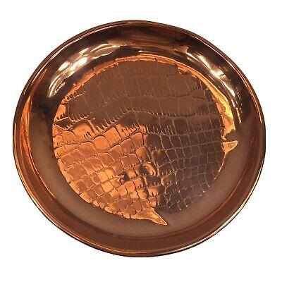 Antique Copper Dish / Plate Crocodile Skin Effect 20.8cm In Diameter