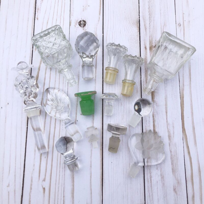 Lot of 14 Vintage Cut Glass Crystal Decanter Cruet Stoppers Container Tops VTG