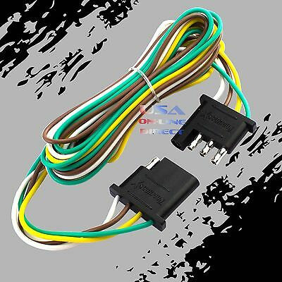 4-Pin Plug Trailer Light Wiring Harness Extension Flat Wire Connector 12ft -