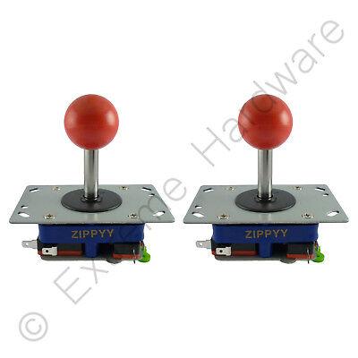 2X Zippyy Corto Eje Bola Superior Arcade Joysticks 2/4/8 Modos (Rojo) Jamma
