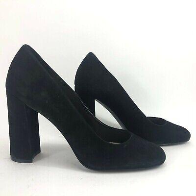 Nine West Denton Women Pumps Sz 9.5 Black Suede Block High Heel Shoes Round Toe Round Pumps Shoes