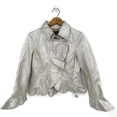 New Bebe Leather Jacket Womens Medium Metallic Silver Ruffle Cropped