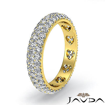 Gold Wedding Band Set - Round Diamond Womens Eternity Wedding Band 18k Yellow Gold Pave Set Ring 1.25Ct