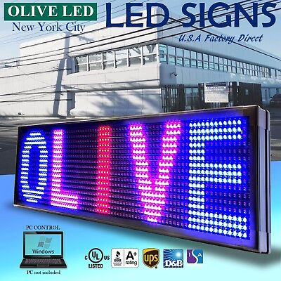 Olive Led Sign 3color Rbp 22x79 Pc Programmable Scroll. Message Display Emc