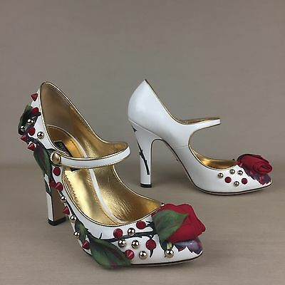 New DOLCE & GABBANA Patent Red Rose Embellished Floral Studded Mary Jane Shoes
