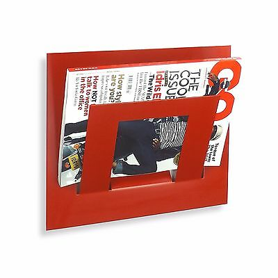 Designer Single Red Wall Mounted Magazine Newspaper Rack by The Metal House