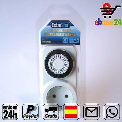 Temporizador programable electrico manual 24h corriente enchufe red *Envío GRATI