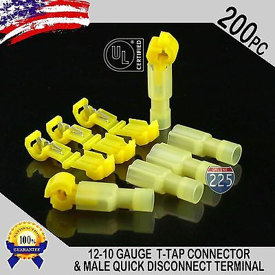 200 T-taps Male Disconnect Wire Connectors Yellow 12-10 Gauge Terminals Ul