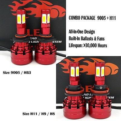 4 Bulbs Kit H11 9005 6000K LED 2080W 312000LM Combo Set Headlight High Low Beam