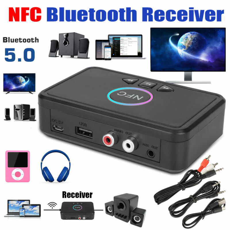 Wireless Bluetooth 5.0 Receiver NFC 3.5mm Jack AUX + 2 RCA Audio Stereo Adapter