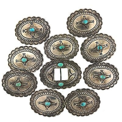 Native American Sterling Silver Turquoise Stamped Conchos 10