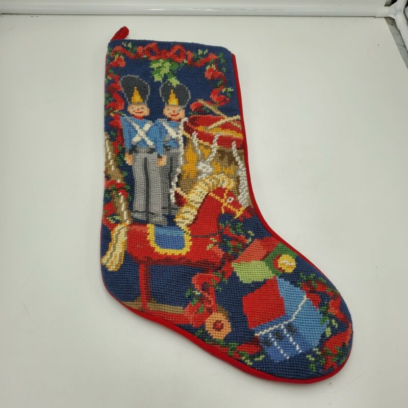 Williamsburg Needlepoint Christmas Stocking Red Velvet Toy Soldier Nutcracker