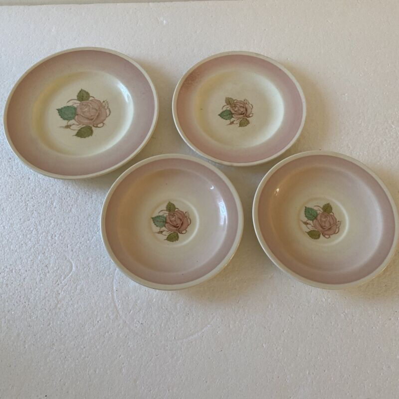 Susie Cooper Pink Rose Saucers Tea And Lunch Plate Lot Of 4