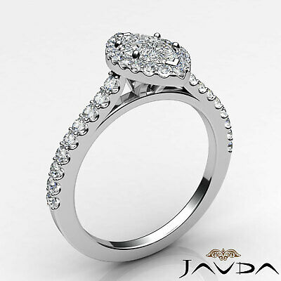 Halo French Pave Set Marquise Diamond Engagement Anniversary Ring GIA H VS1 1Ct 8
