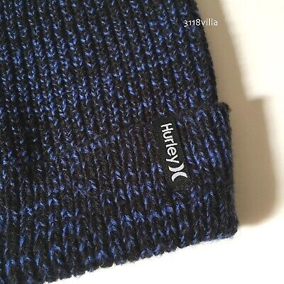 Hurley Max Cuff Knit Beanie Cap Hat - Adult Cuffed Folded Blue Black Blue Cuff Knit Beanie Cap