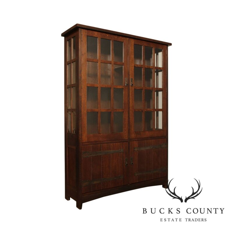 Stickley Mission Collection Oak Tall China Cabinet, Bookcase