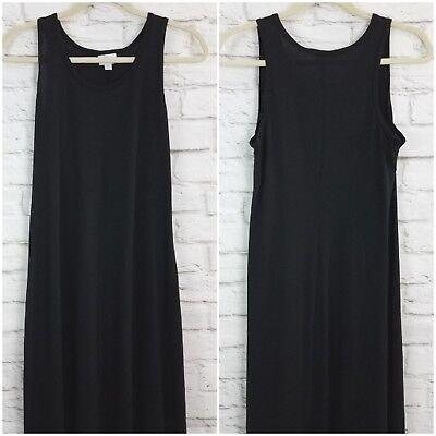 LuLaRoe Dani Maxi Dress Medium Solid Black Sleeveless Scoop Neck Long Column