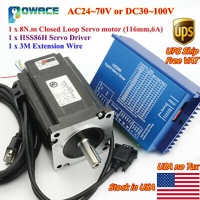 Usacnc Servo Motor Nema34 8n.m Closed Loop 116mm Hss86 2-phase Hybrid Driver