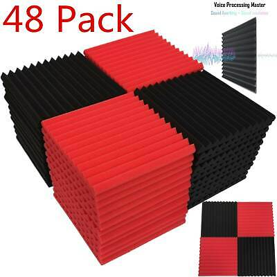 "48-Pack Acoustic Foam Panel Wedge Studio Soundproofing 1"" X 12"" X 12"" Wall Tiles"