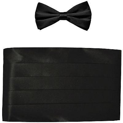 NEW in box men's formal 100% SILK Cummerbund, bowtie set solid BLACK wedding
