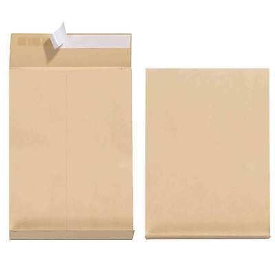 300 Faltentaschen B4, ohne Fenster, 40 mm-Falte und Klotzboden, 125 g/qm, braun