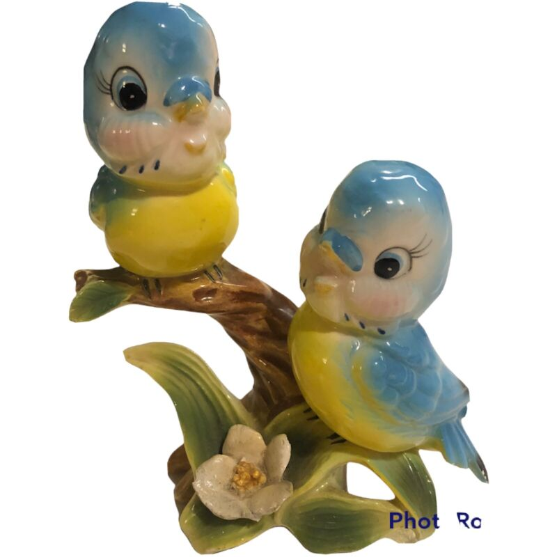Vintage Norcrest Anthropomorphic Bluebirds Figurine Lefton Kitschy Birds