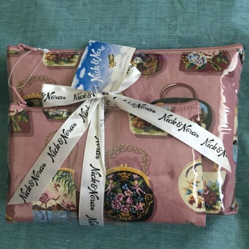 Nick And Nora Accessories Tapestry Handbags Set Of 2 Cosmetic Make Up Bags RARE