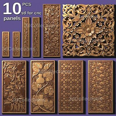 3d Stl Model Cnc Router Artcam Aspire 10 Pcs Panel Decor Collection