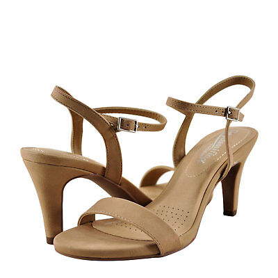 Womens Shoes City Classified Real Open Toe Sling Back Heel Natural  New
