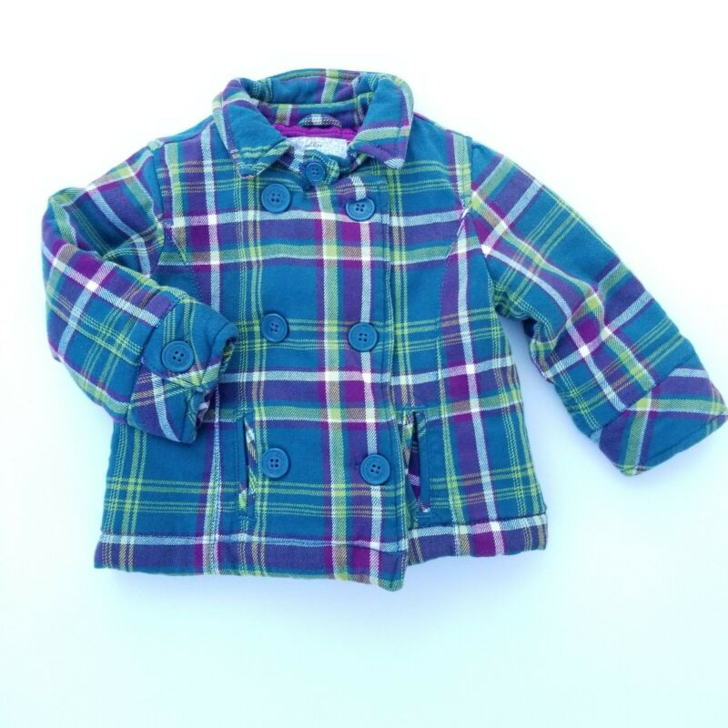 GUESS Quilted Plaid Flannel Jacket Girls Toddler Purple Green 18 Months