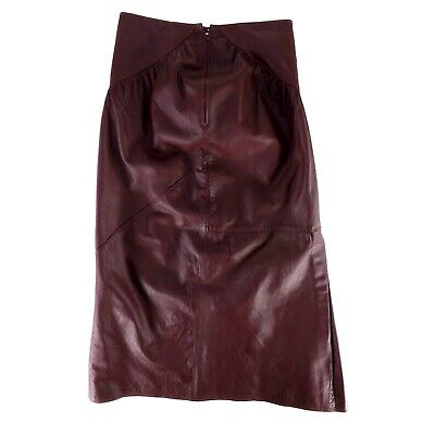 Vintage Womens Brown Leather Skirt Long A-Line Size S Solid Back Zip High Rise