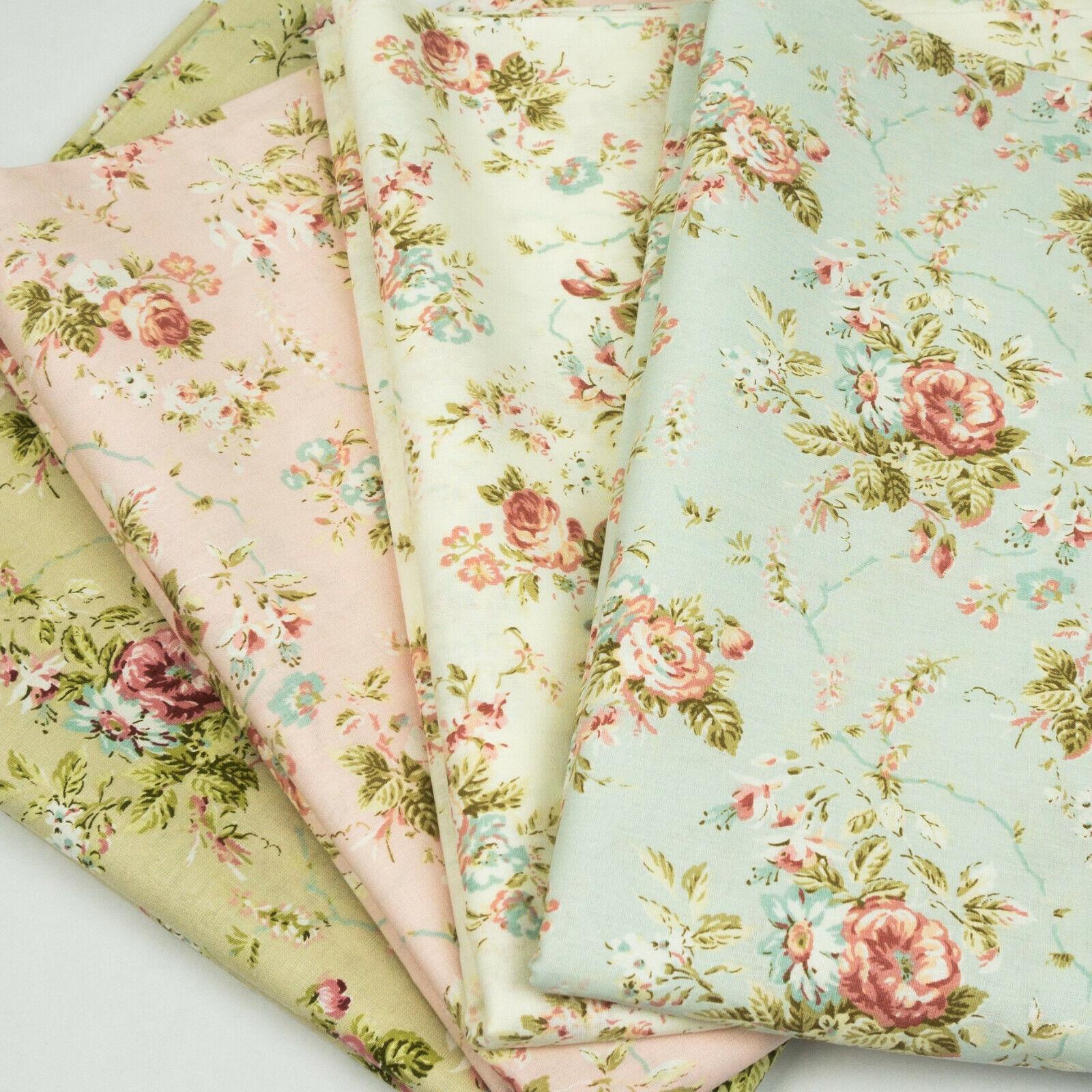Baumwollstoff VINTAGE Blumen Stoff METERWARE 240 cm Breite 100 Baumwolle