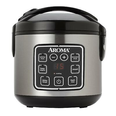 Aroma Housewares 2-8 Cup Digital Removed-Touch Rice Cooker & Food Steamer Stainless