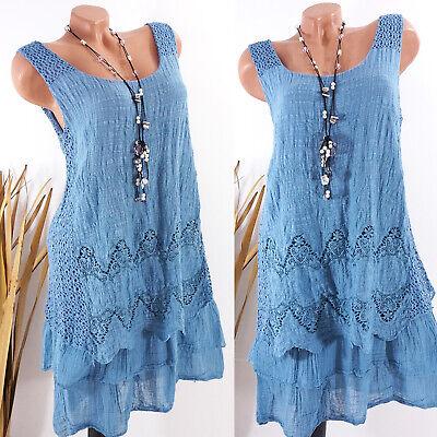 Kleid Damen Sommer Hippie Strand Lagenlook Boho Stickerei jeansblau 38 40 42