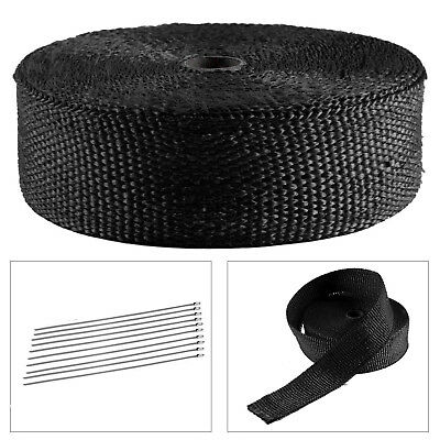15M Titanium Heat Wrap Exhaust Manifold Tape +10 Stainless Steel Cable Ties 30cm