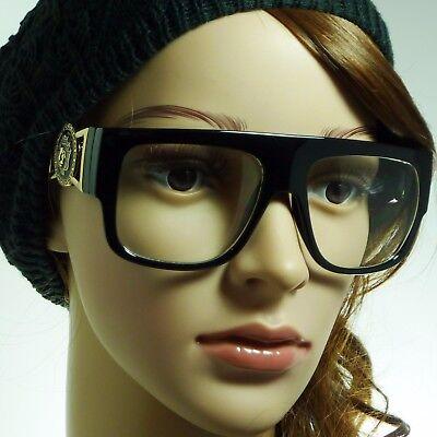RETRO Millionaire Flat Top Hip Hop Rapper DJ Gold Buckle Clear Lens Eye Glasses (Millionaire Glasses)