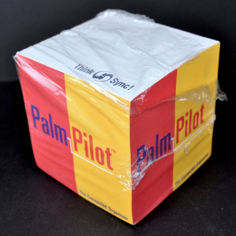 Palm Pilot Think Sync Vintage Sticky Notes Cube Promo 3.5in 90s PDA Dead Tech