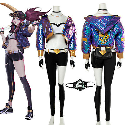 LOL KDA Akali The Rogue Assassin Cosplay Costume Baseball Coat Outfit Full Set